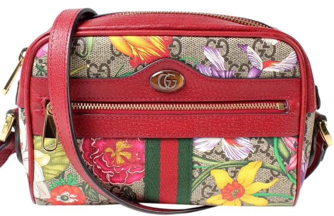 Item - Ophidia 517350 Blooms Floral Gg Canvas Red Leather Cross Body Bag
