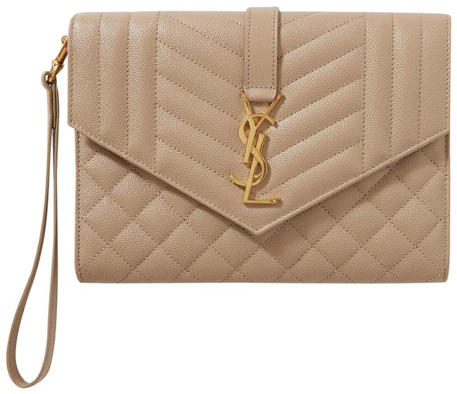 Item - Envelope Pouch Beige Quilted Textured-leather Clutch