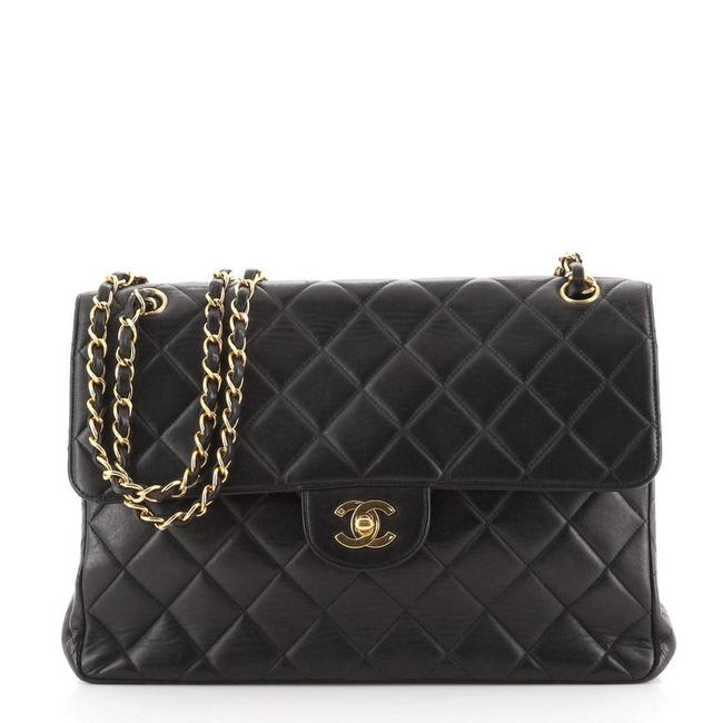 Item - Classic Flap Vintage Double Sided Quilted Lambskin Jumbo Black Leather Shoulder Bag