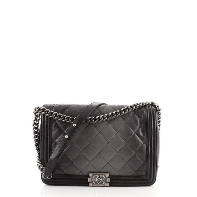 Item - Classic Flap Ombre Boy Quilted Goatskin Large Black Gray Leather Cross Body Bag