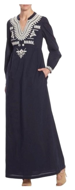 Item - Dark Navy Blue with White Keegan Long Casual Maxi Dress Size 12 (L)
