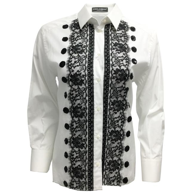 Item - White and Black Sequined Lace Tuxedo Style Blouse Size 4 (S)