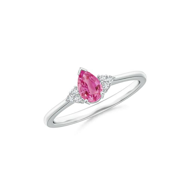 Item - 14k White Gold 0.50ct Pear Pink Sapphire Solitaire with Trio Accents Ring