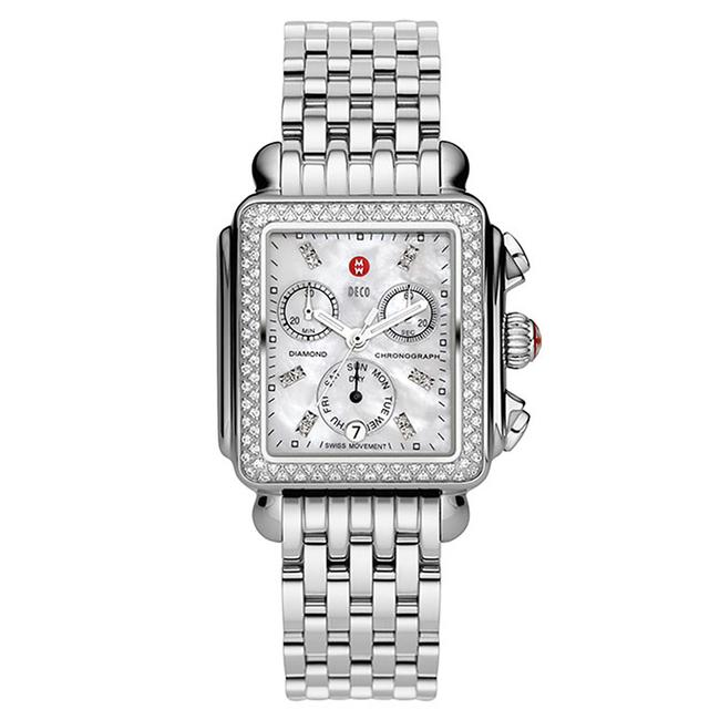 Item - Silver Deco Mother Of Pearl Diamond Dial Mww06p000099 Watch