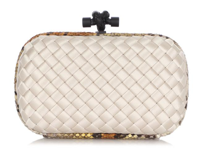 Item - And Python-trimmed Intrecciato Knot White Satin Clutch