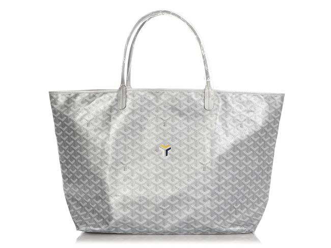 Item - Limited Edition Metallic Saint-louis Gm Silver Canvas Tote