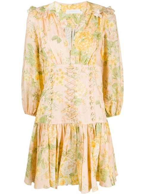 Item - Yellow and Peach Floral Short Casual Dress Size 6 (S)