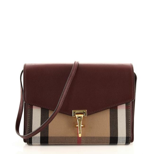Item - Macken and Vintage Check Small Brown Red Canvas Plain Leather Cross Body Bag