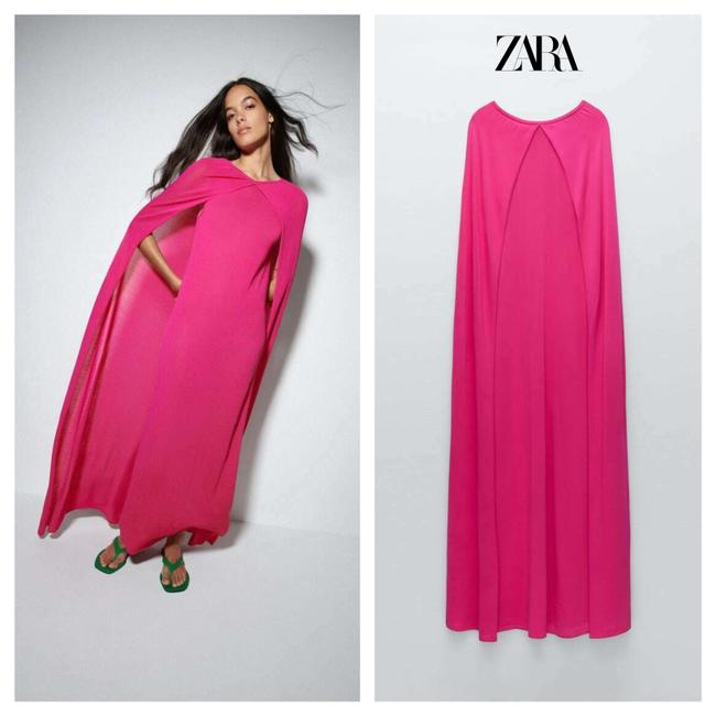 Item - Pink Fuchsia with Cape Limited Edition Long Casual Maxi Dress Size 12 (L)