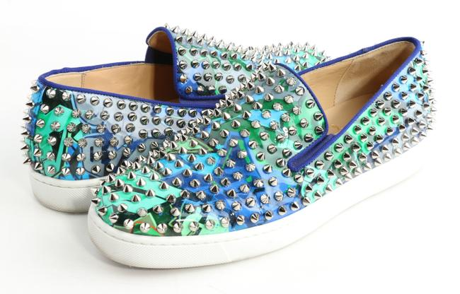 Item - Blue/Green Pik Boat Spiked Flats Shoes