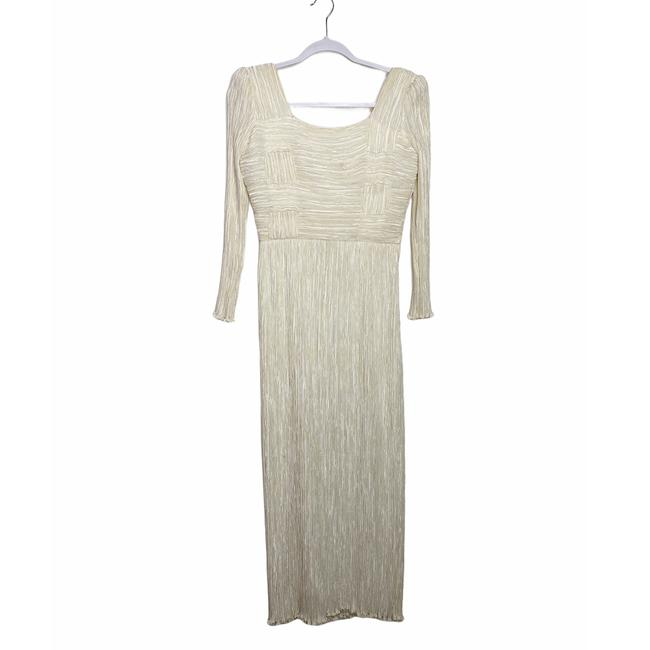 Item - White 1980s Vintage Pleated Gown Long Formal Dress Size 6 (S)