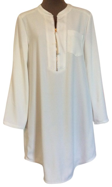 Item - White Kaiko Shirtdress with Tab Sleeves Short Casual Dress Size 8 (M)