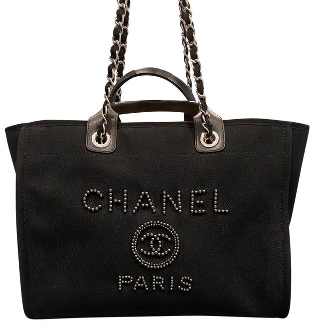 Item - Deauville Large Fantasy Black Canvas and Pearls Tote