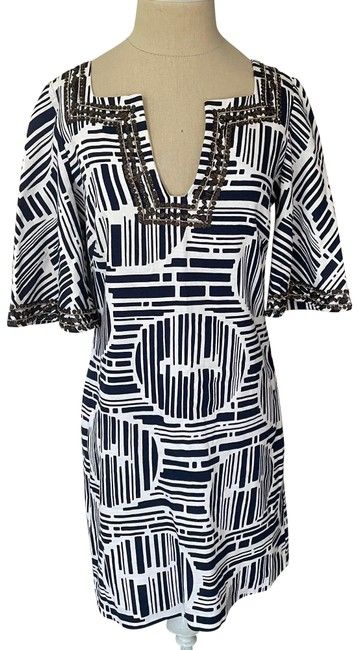 Item - Blue and White Lek Bamboo Forest Embellished Mid-length Short Casual Dress Size 4 (S)