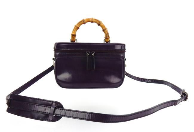 Item - Bamboo Top Handle Cosmetics Travel Tote Purple Patent Leather Cross Body Bag