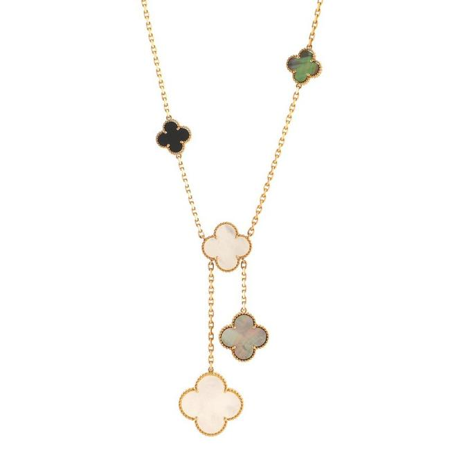 Item - 18k Yellow Gold Magic Alhambra 6 Motif and Mother Of Pearl Necklace