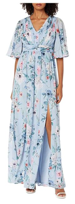 Item - Women's Printed Floral Chiffon Gown Long Cocktail Dress Size 6 (S)