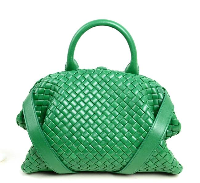 Item - Bv 2021 Racing Small The Handle Intrecciato Green Lambskin Leather Tote