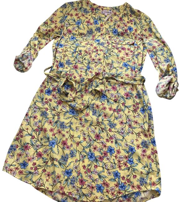 Item - Long Sleeve Floral Mid-length Short Casual Dress Size 10 (M)