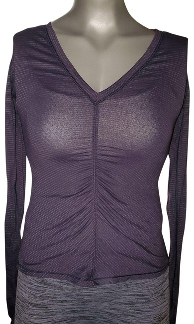 Item - Grey/Silver Ruched Striped Activewear Top Size 4 (S)