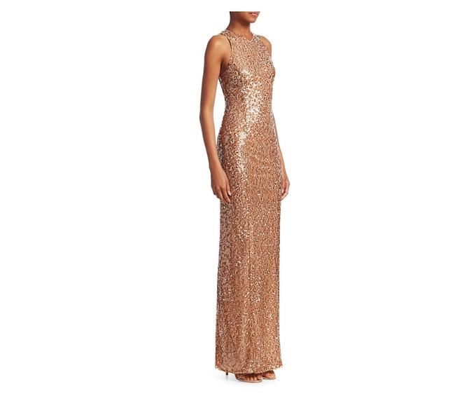 Item - Copper Bodycon Sequin Gown Long Formal Dress Size 8 (M)