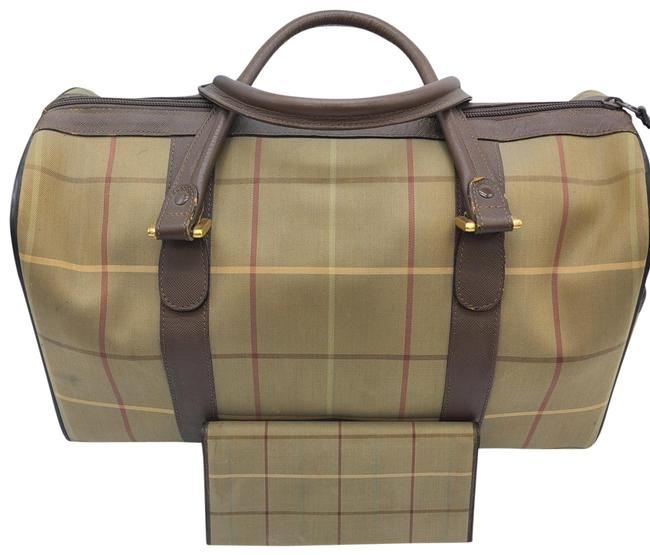 Item - Canvas Trim Set Brown and Light Green Leather Satchel