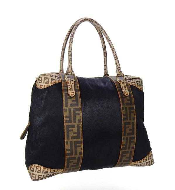 Item - Zucca Boston Top Handle Oversize Black and Brown Canvas Leather Tote