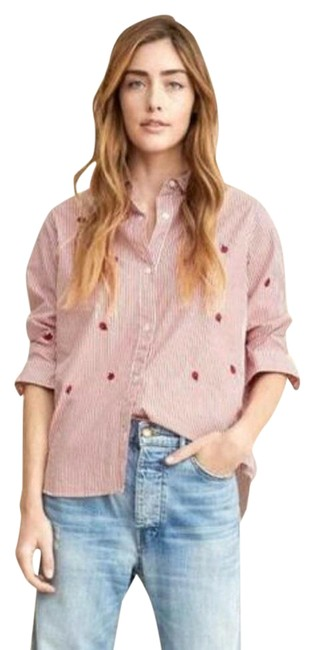 Item - Red Pin Striped Campus Shirt Button Front Blouse Embroidered Apple Button-down Top Size 6 (S)
