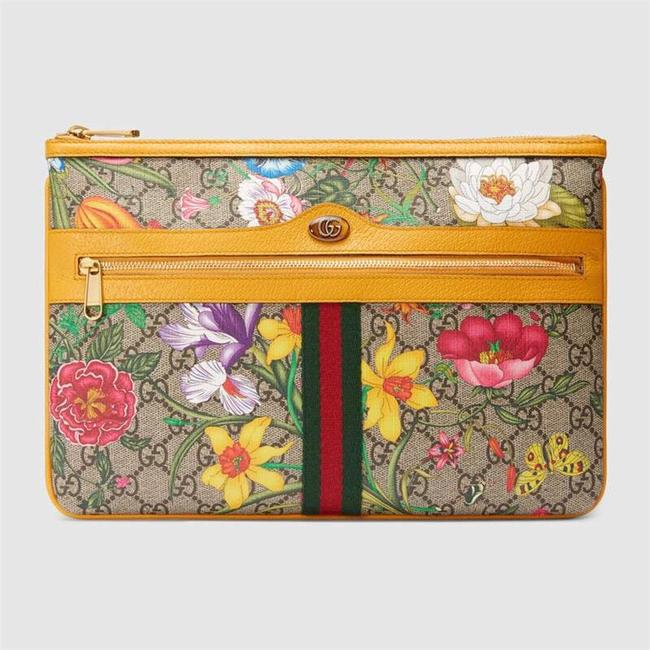 Item - 517551 Ophidia Flora Clutch/ Pouch Yellow Leather Clutch