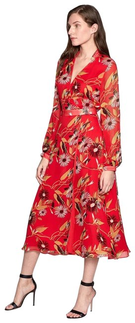 Item - Red Femme Womens Andrese Floral Sleeve Long Cocktail Dress Size 6 (S)
