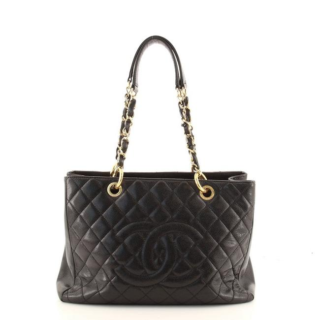 Item - Shopping Grand Quilted Caviar Black Leather Tote
