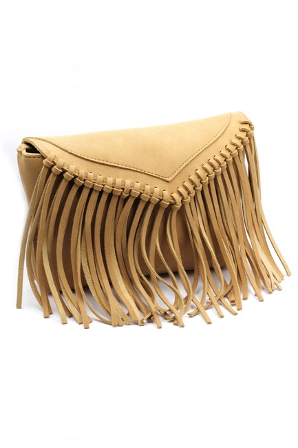 Item - Fringed Suede Small Purse Brownish Yellow Faux Leather Shoulder Bag