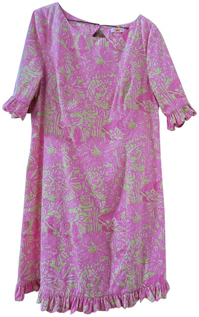 Item - Pink Multicolor Mid-length Night Out Dress Size 14 (L)