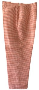 Ann Taylor Petites Fully Lined Invisible Zipper Dry Clean Only Trouser Pants Orange and White 100% SILK