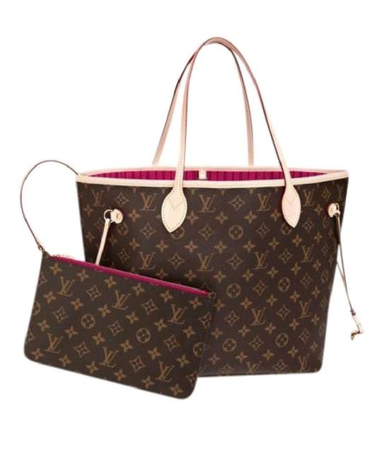 Item - Neverfull New Mm Monogram with Pouch and Pivoine Lining Brown Canvas Tote
