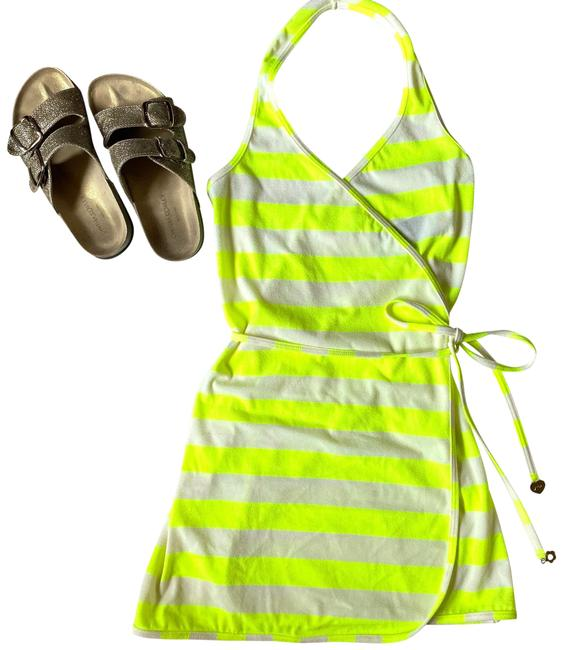 Item - Yellow White Beach 60s Striped Halter Wrap Dress Neon Cover-up/Sarong Size 2 (XS)