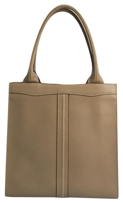 Item - Bag Punch Small V5u06 Women's Gray Beige Leather Tote