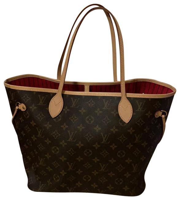 Item - Neverfull Mm with Pouch Cherry Monogram Canvas Tote
