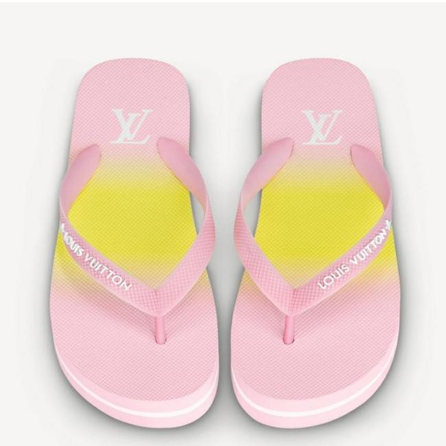Item - Pink Yellow By The Pool Song Flip Flop Mule Sandals Size US 8 Regular (M, B)