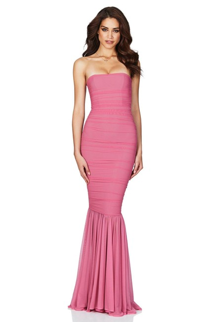 Item - Pink Ambition Strapless Mesh Mermaid Long Cocktail Dress Size 10 (M)