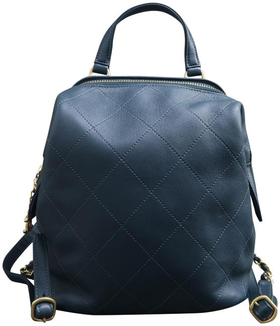 Item - Quilted Cadetblue Calfskin Leather Backpack