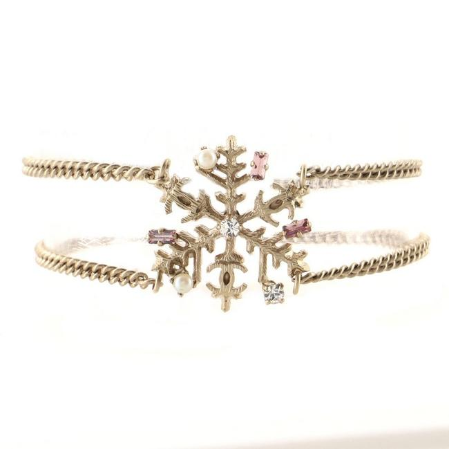 Item - Snowflake Double Chain Metal with Crystals and Pearls Bracelet