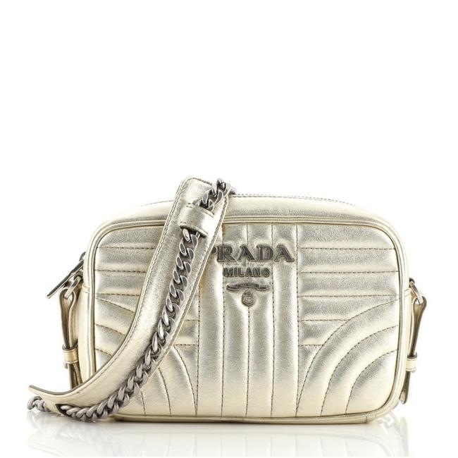 Item - Camera Diagramme Quilted Mini Gold Leather Cross Body Bag