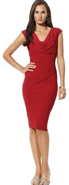 Item - Red Cowl Neck Mid-length Night Out Dress Size 10 (M)