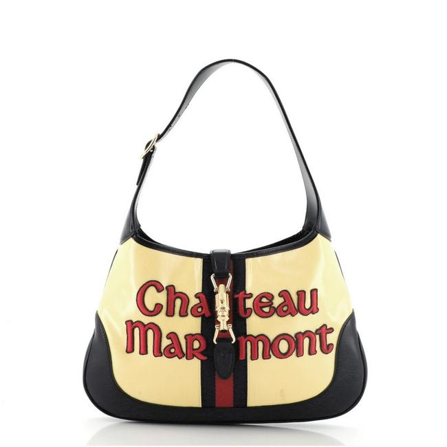 Item - Marmont Jackie Chateau Embroidered Gg Medium Yellow Canvas Coated Leather Hobo Bag