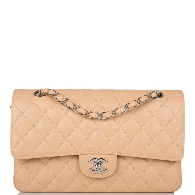 Item - Classic Flap Quilted Caviar Medium Classic Double Silver Hardware Beige Leather Shoulder Bag