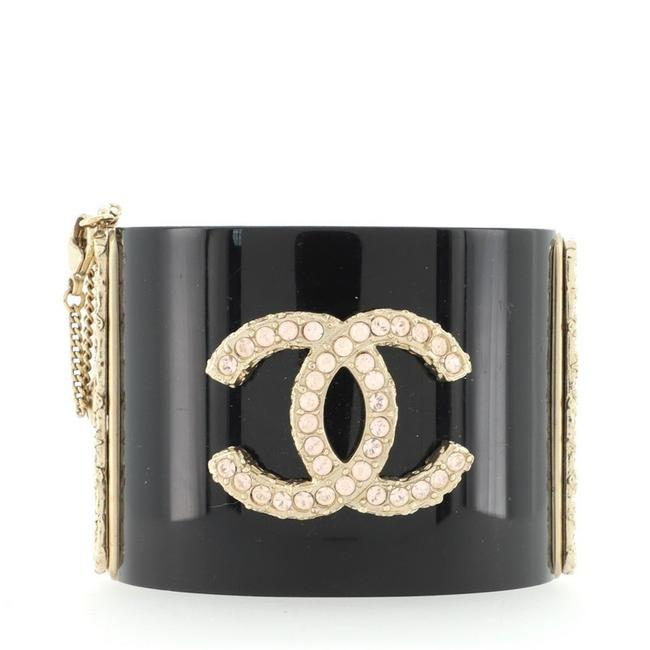 Item - Black Cc Cuff Resin with Metal and Crystals Bracelet