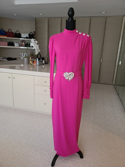 Item - Pink Embellished Evening Long Night Out Dress Size 8 (M)