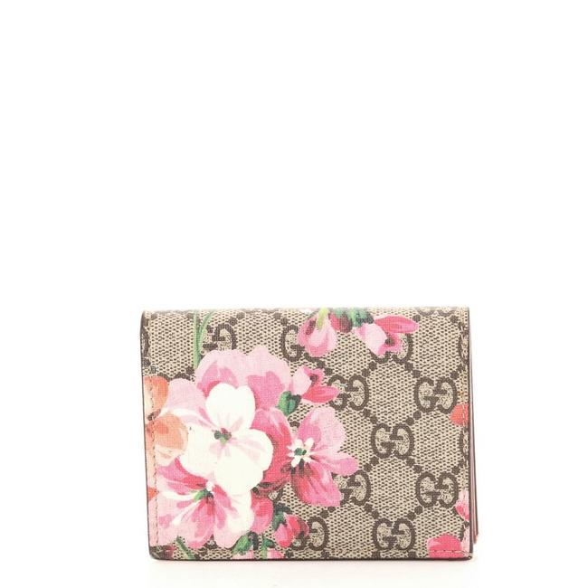 Item - Brown Pink Print Flap Card Case Blooms Gg Coated Canvas Wallet