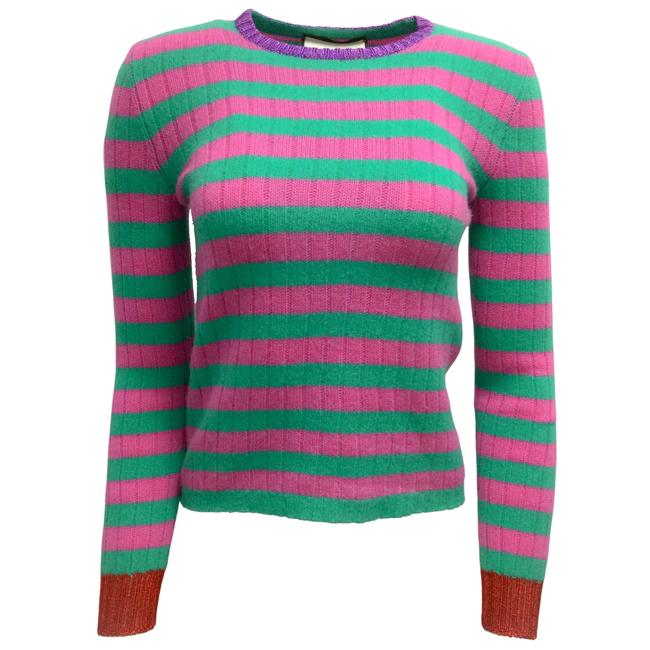 Item - Striped Long Sleeved Cashmere Knit Green / Pink Sweater